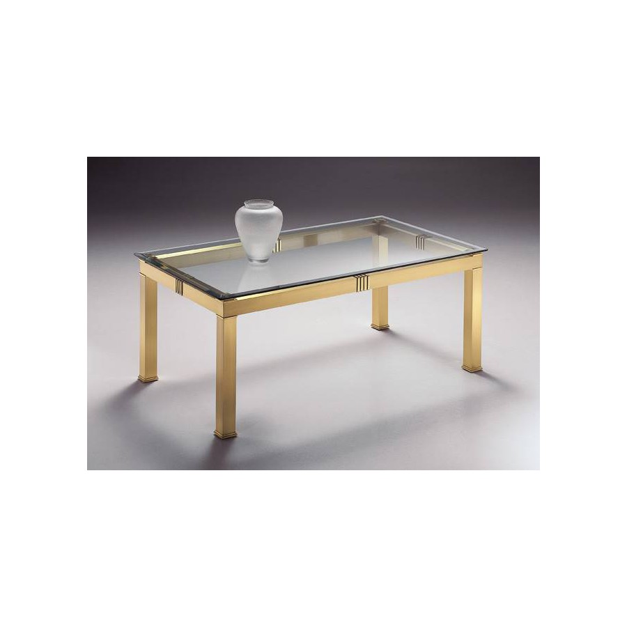 Rectangular coffee table brass Roma - Mat brass with parts in bright brass, beveled transparent glass