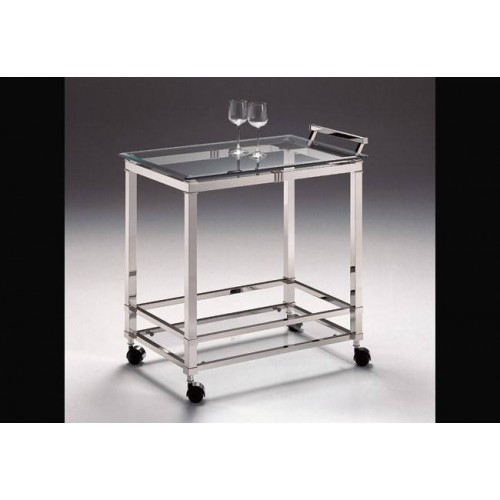 Serving trolley brass Roma - Bright nickel brass with parts in mat nickel brass, beveled transparent glass