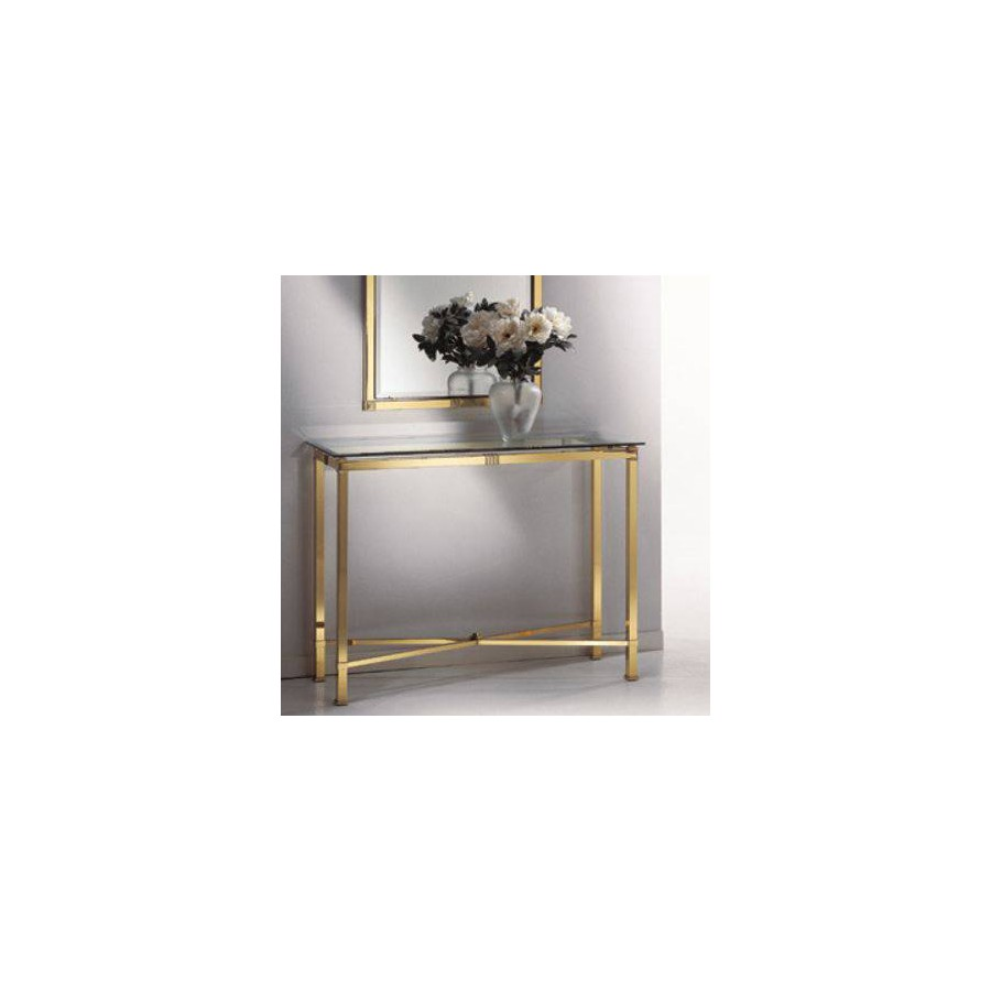 Console table brass Roma - Brigth brass with parts in mat brass, beveled transparent glass