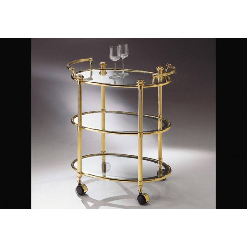 Serving trolley triple trays brass Roma - Bright brass, trays transparent glass with mirror edge