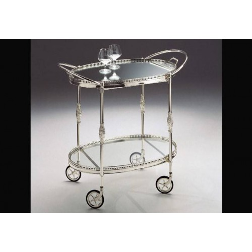 Serving trolley brass Venizia - Silver brass, tray transparent glass