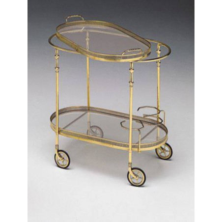 Serving trolley amovable tray brass Venizia - Bright brass, tray transparent glass without handles
