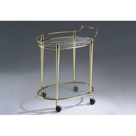 Oval serving trolley brass Torino - Gold brass, tray transparent glass etching