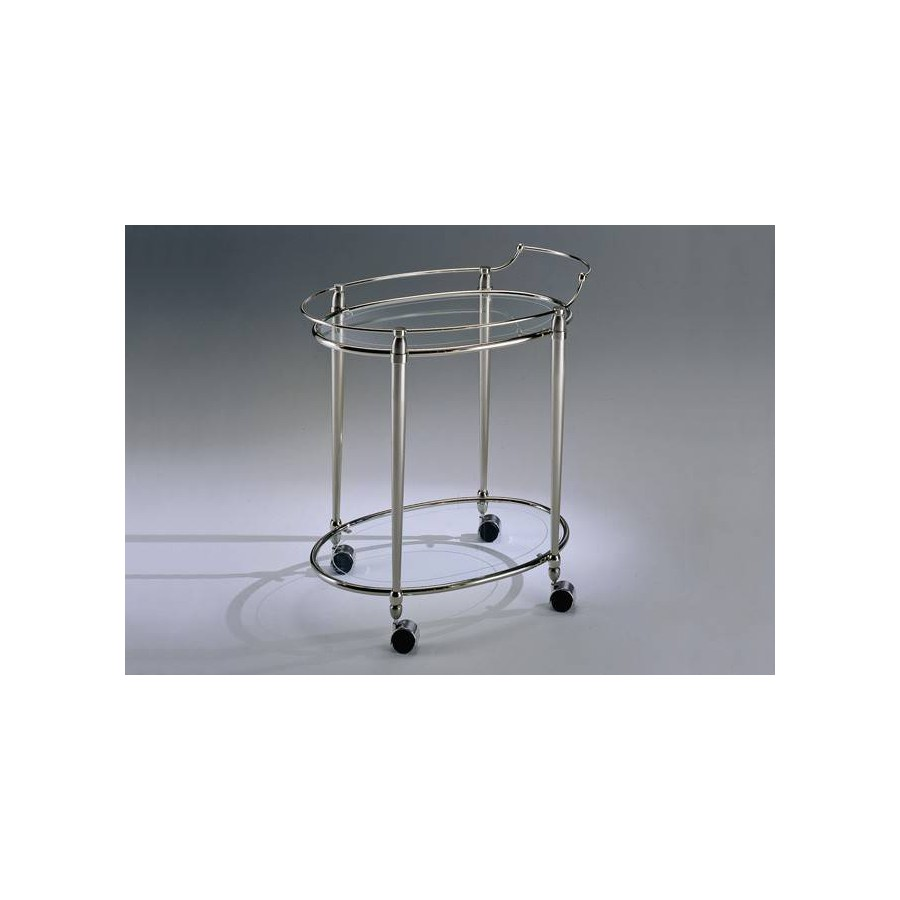 Oval serving trolley brass Torino - Nickel mat brass, tray transparent glass etching