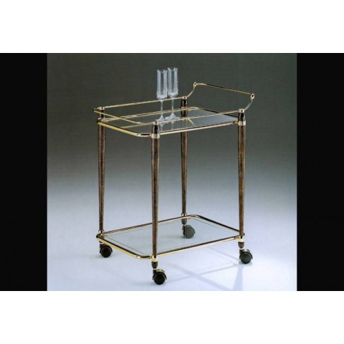 Serving trolley brass Torino - Bright brass walnut effect, tray transparent glass etching