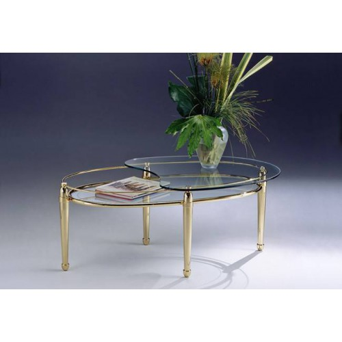Serving trolley brass Torino - Golden brass, trays transparent glass