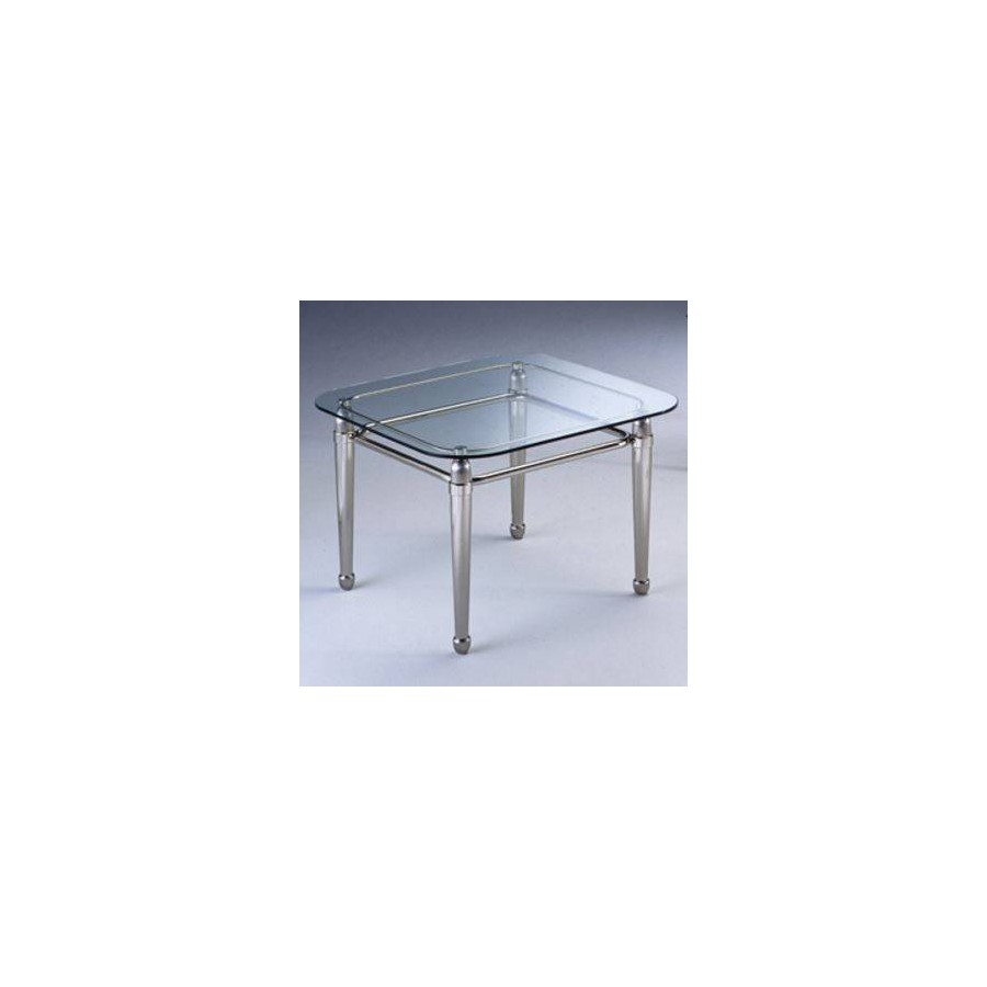 Square coffee table brass Torino - Mat nickel brass and bright nickel brass, tray transparent glass