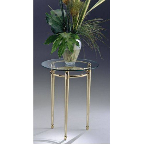 Side table brass Torino - Golden brass, tray transparent glass