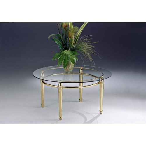 Round coffee table brass Torino - Golden brass, tray transparent glass