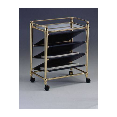 Magazine rack brass Torino - Golden brass with black leatherette, tray transparent glass etching