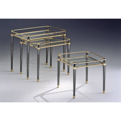 Coffee table trundle brass Torino - Golden brass with parts in gunmetal grey, tray transparent glass etching