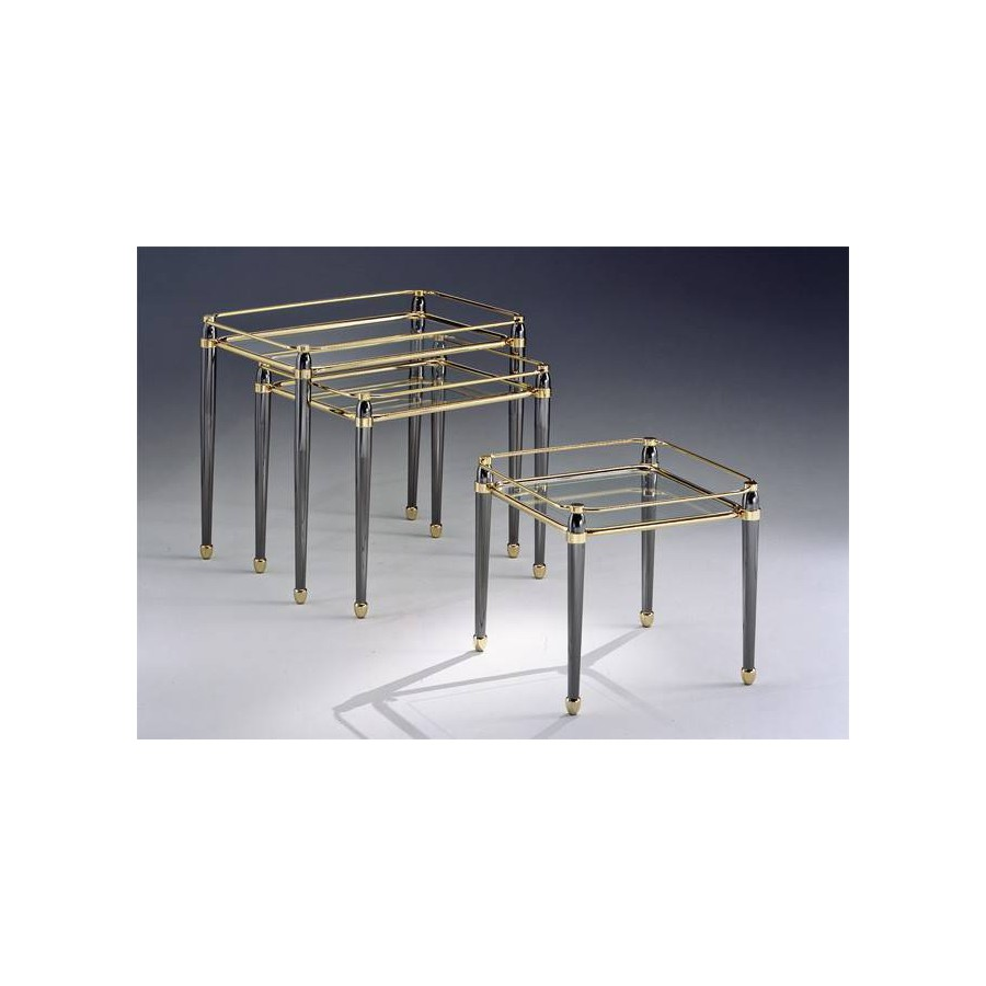 Coffee Table Trundle Brass Torino   Golden Brass With Parts In Gunmetal  Grey, Tray Transparent