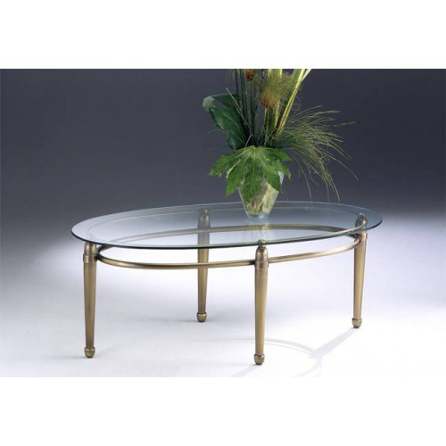 Oval coffee table brass Torino - Old bronze brass, tray transparent glass