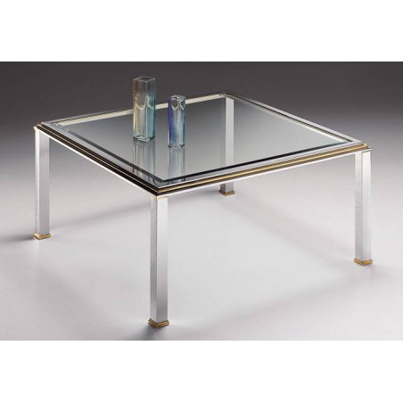 Square coffee table brass Milano - Chromed brass and golden brass, tray beveled transparent glass