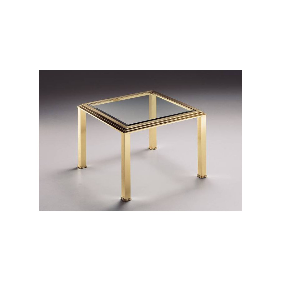 Square coffee table brass Milano - Bright brass, tray beveled transparent glass