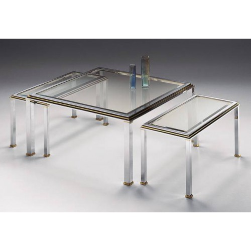 Coffee table trundle brass Milano - Chromed brass and golden brass, tray beveled transparent glass