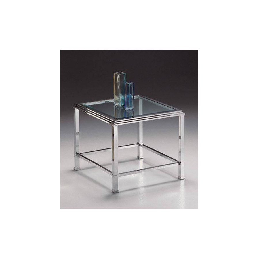 Coffee table brass Milano - Chromed brass, tray transparent beveled glass