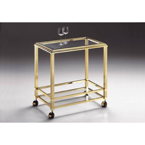 Serving trolley brass Milano - Bright brass, tray beveled transparent glass