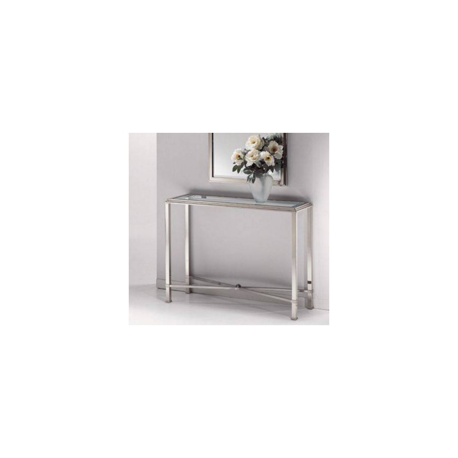 Console table brass Milano - Bright nickel brass and mat nickel brass, tray transparent beveled glass