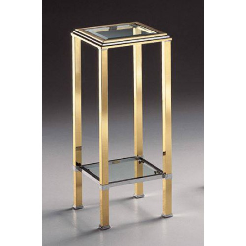 Column brass Milano - Golden brass and chromed brass, tray transparent beveled