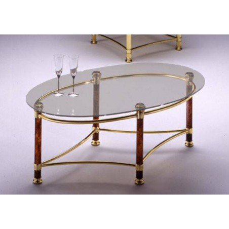 Oval coffee table brass Verona - Bright brass and methacrylate, tray transparent glass