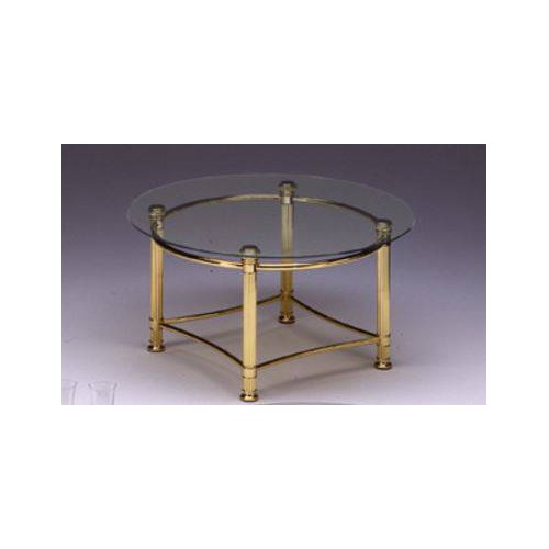 Round coffee table brass Verona - Bright brass, tray transparent glass