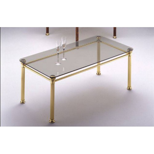 Rectangular coffee table brass Verona - Bright brass, tray transparent glass