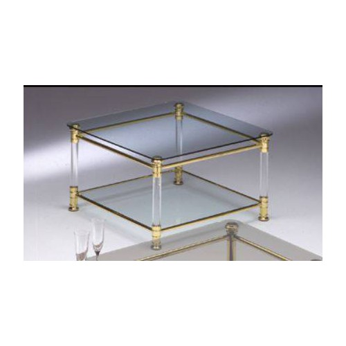 Square coffee table brass Verona - Bright brass and methacrylate, tray transparent glass