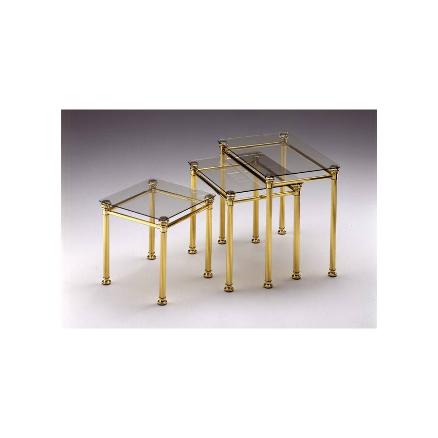 Coffee table trundle brass Verona - Bright brass, tray transparent glass