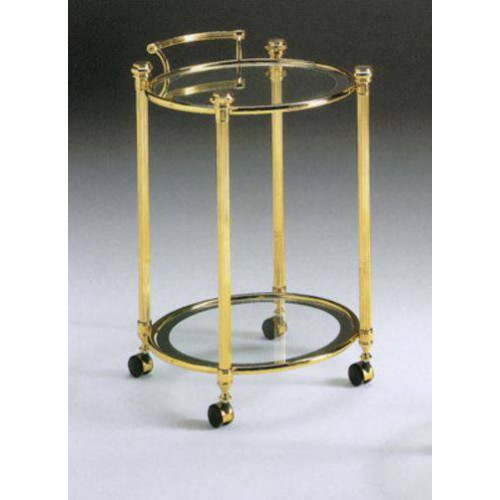 Round serving trolley brass Verona - Bright brass, tray transparent glass with mirror edge