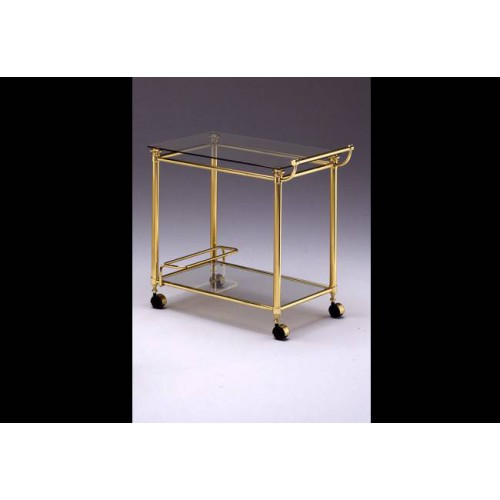 Serving trolley brass Verona - Brigth brass, tray transparent glass