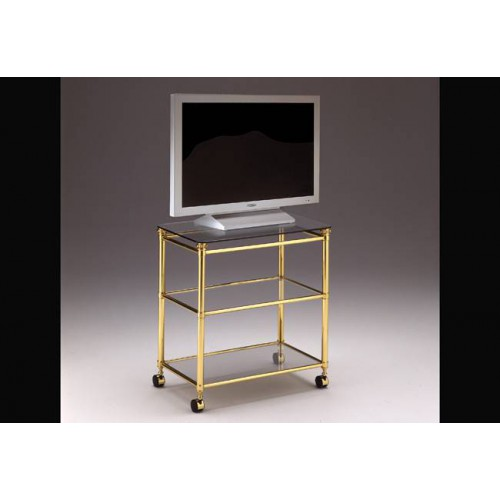 TV furniture brass Verona - Bright brass, tray transparent glass