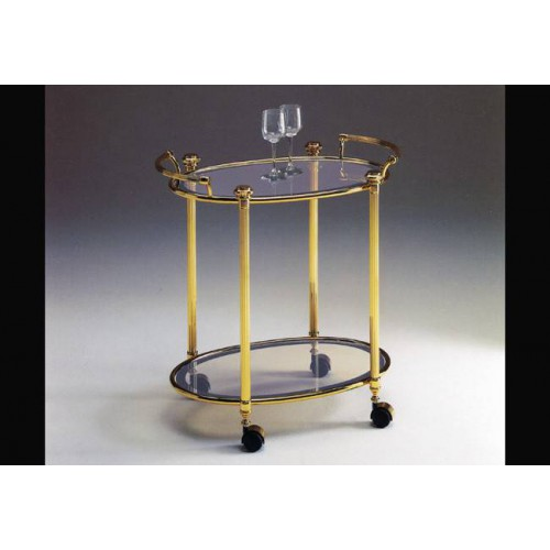 Oval serving trolley brass Verona - Bright brass, tray transparent glass