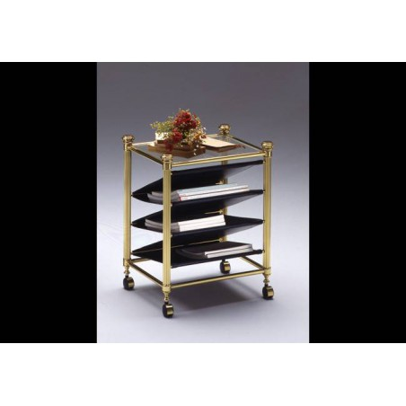 Magazine rack brass Verona - Bright brass with black leatherette, tray transparent glass