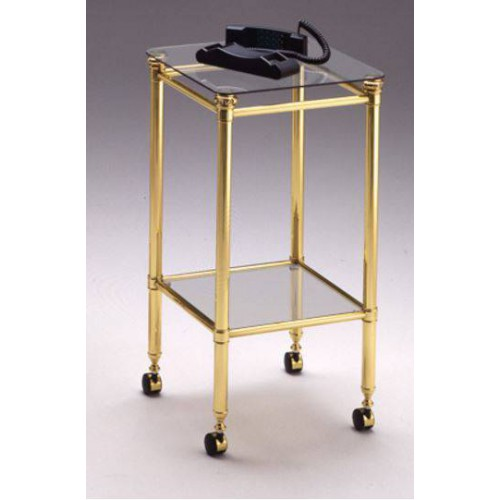 Side table brass Verona - Bright brass, tray transparent glass