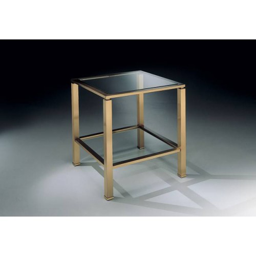 Square side table brass Aprilia - Mat brass, tray transparent glass