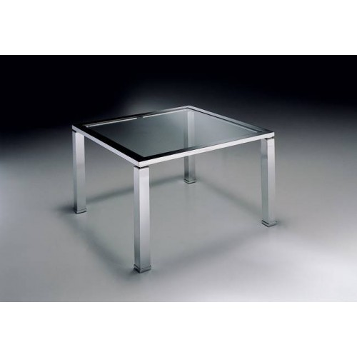 Square coffee table brass Aprilia - Chromed brass, tray transparent glass