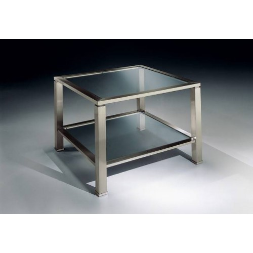 Square dual trays coffee table brass Aprilia - Mat nickel brass, transparent glass