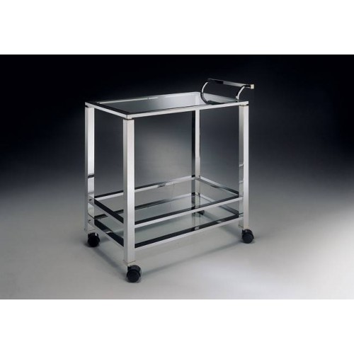 Serving trolley brass Aprilia - Chromed brass, tray transparent glass