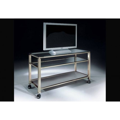 Tv stand brass Aprilia - Mat nickel brass, tray transparent glass