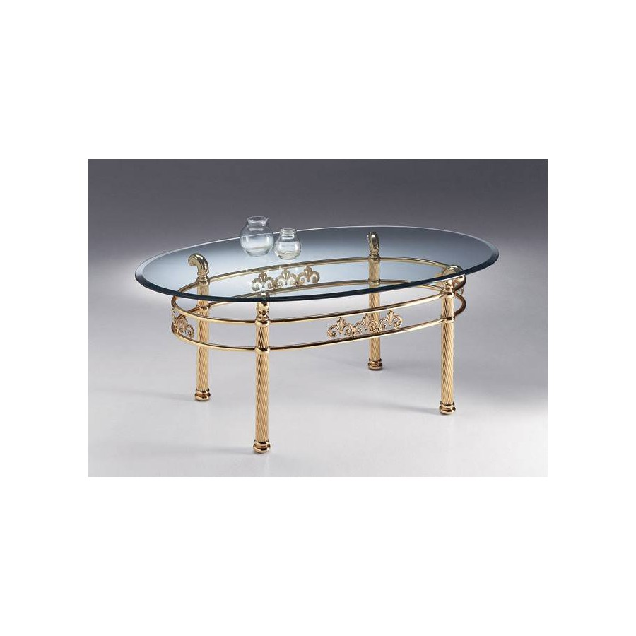 Oval coffee table brass Napoli - Bright brass, tray transparent glass