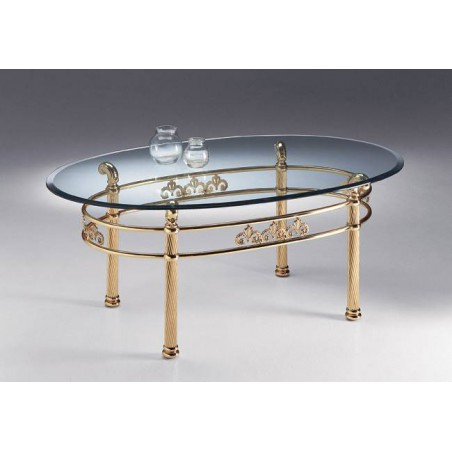 Oval coffee table brass Napoli
