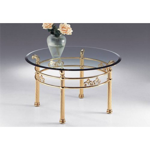 Round coffee table brass Napoli - Bright brass, tray transparent glass beveled