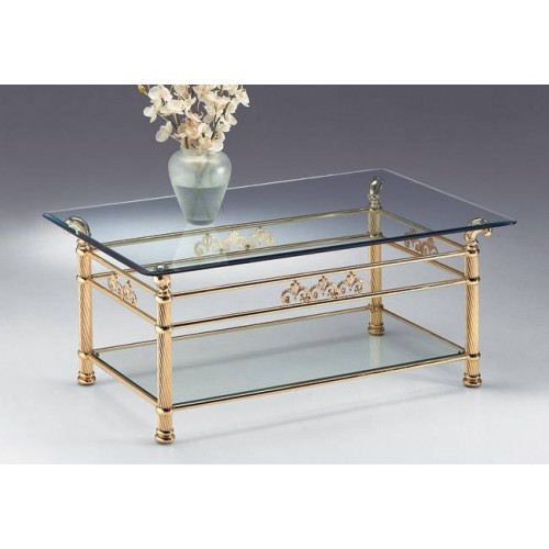 Coffee table brass Napoli - Bright brass, tray transparent glass