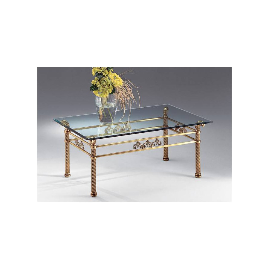 Coffee table brass Napoli - Old bronze brass, tray transparent glass beveled