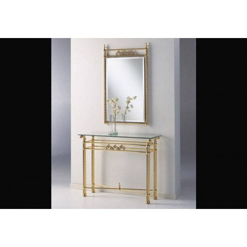 Console table brass Napoli - Bright brass, tray transparent glass
