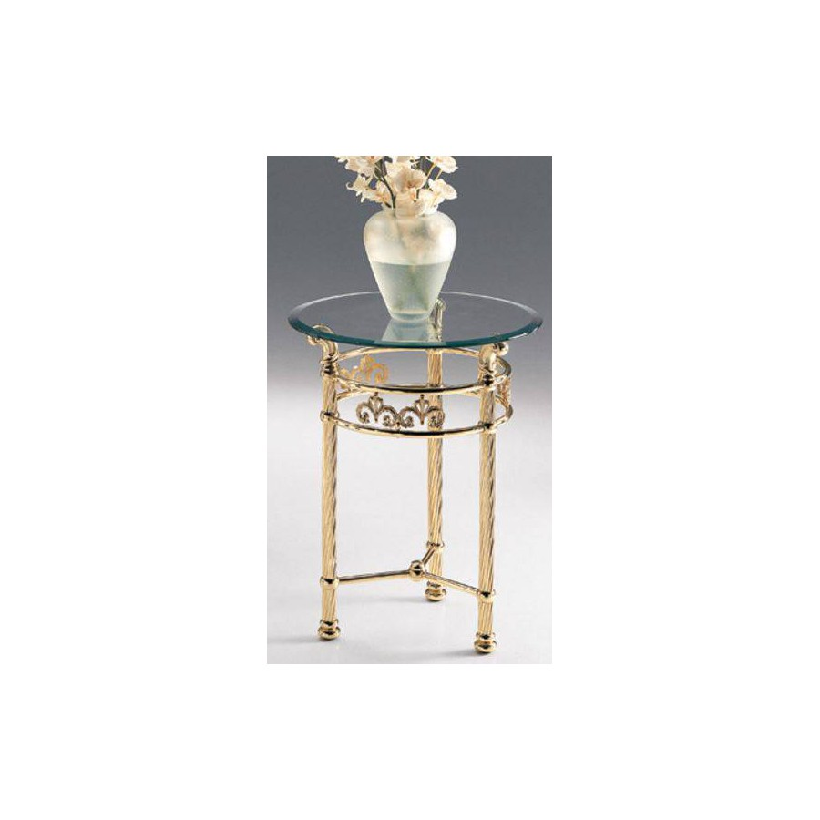 Round side table brass Napoli - Bright brass, tray transparent glass beveled