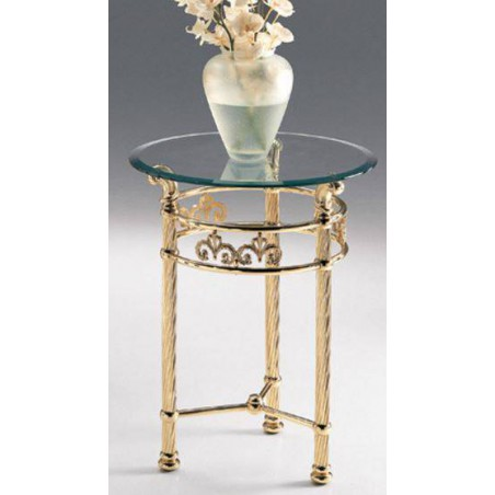 Round side table brass Napoli