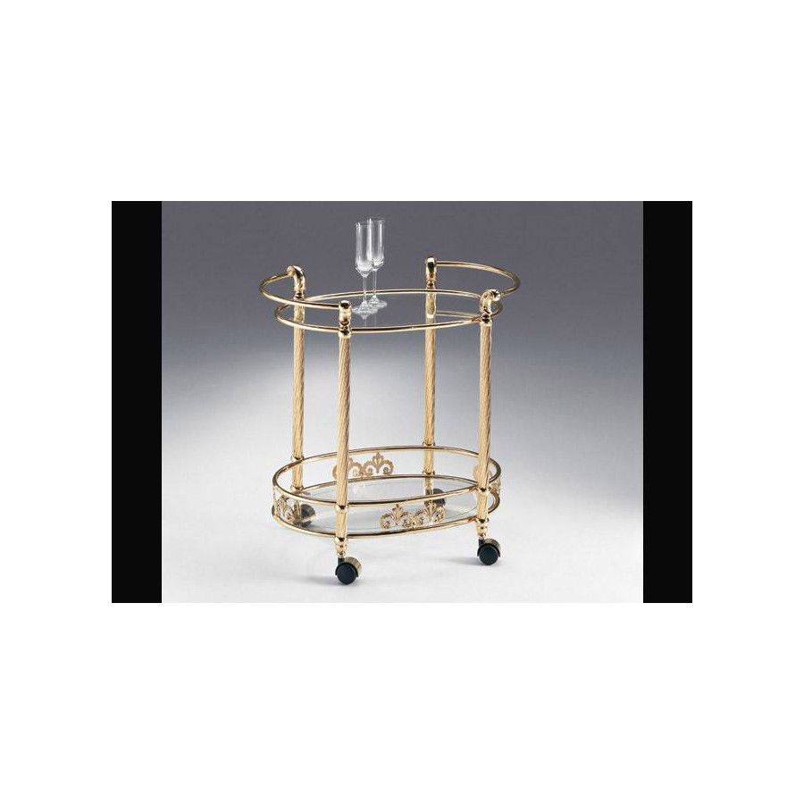 Oval serving trolley brass Napoli - Bright brass, tray transparent glass etching