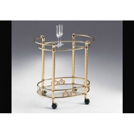 Oval serving trolley brass Napoli